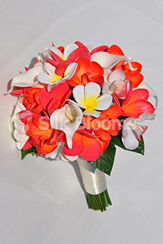 Tropical Artificial Orange and Pink Orchid and Frangipani Bridal Bouquet with Calla Lilies