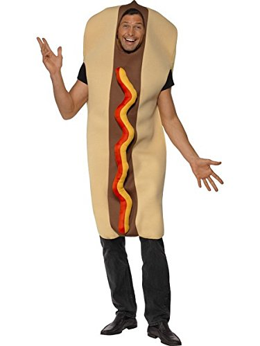 [Smiffy's Men's Giant Hot Dog Costume with Ketchup Effect Front Full Bodysuit, Multi, One Size] (Hot Dog Costume For Adults)