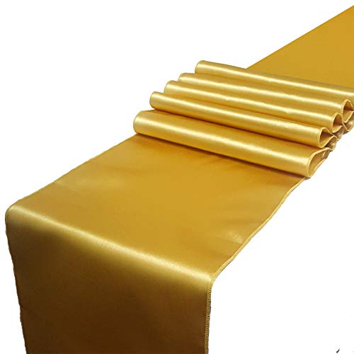 Parfair Dessin Satin Table Runners 12 x 108 inch for Wedding Banquet Reception Party Decoration, Bright Silk and Smooth Fabric Party Table Runner - Gold -