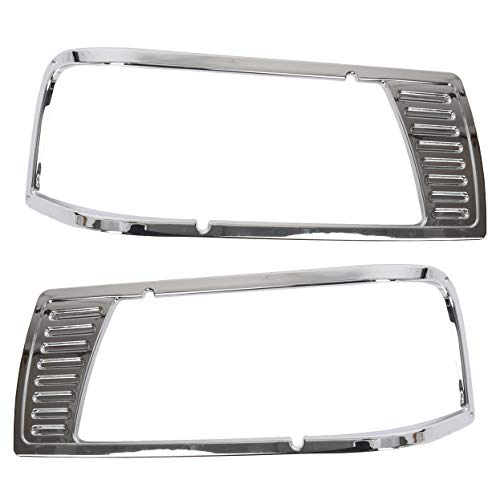 ECOTRIC Chrome Headlight Bezel Pair Left&Right for Peterbilt 377