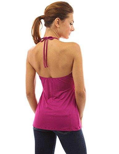 PattyBoutik Mujer geométrica correas v cuello camiseta sin mangas Magenta