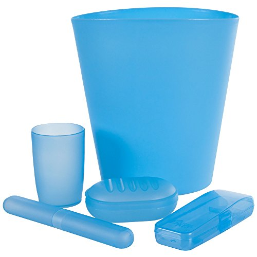 Everyday Home 5-Piece Bathroom Waste Basket and Toiletry Case Set, Blue