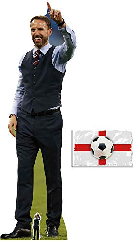 Gareth Southgate Football Manager of England Lifesize and Mini Cardboard Cutout Fan Pack, 193cm x 61cm Includes 8x10 Star Photo (Villa Aston Crystal)