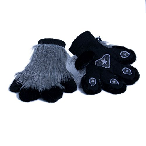 Pawstar Paw Mitts Furry Animal Hand Paws Costume Gloves Adults - Gray]()