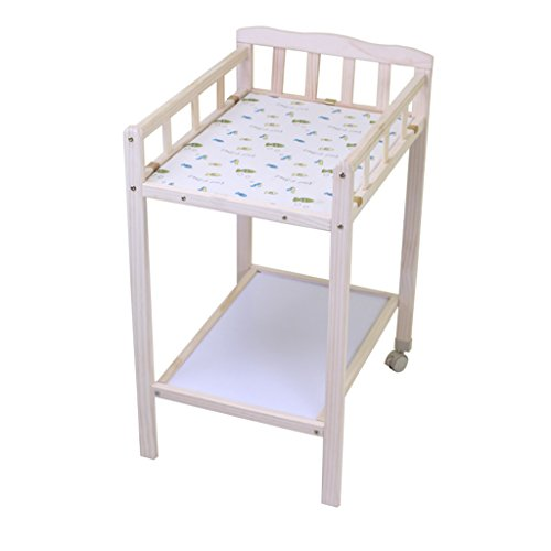 Baby Changing Table 0~5 Months Baby Pine Wood Massage Table Touch Table with Casters Removable Shower Stand Diaper Table 63 cm Long 50 cm Wide 88 cm High 15 Kg Load (Size : 2 Wheels)