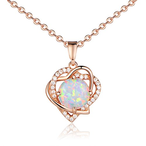 VOLUKA Rose Gold Plated Round Synthenic Opal Heart Shape CZ Halo Pendants Necklace for Women and Girls