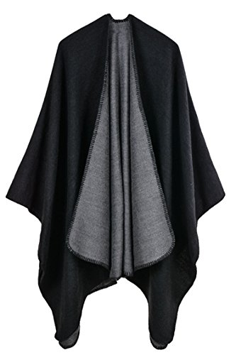 - Pink Queen Women Oversized Cashmere Knitted Poncho Cape Cardigan Coat Shawl Wrap (Black-728)