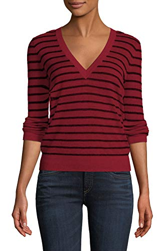 Viottis Women's Ribbed Striped Slim Fit V-Neck Pullover Knit Sweater Wine Red XL ()