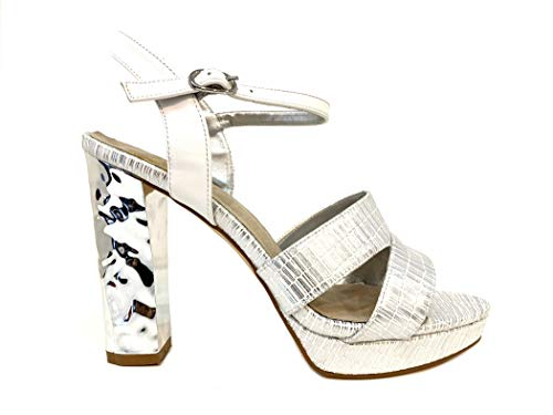 Sandali Elegant Donna Cerimonia White Particular Silver Wedding Sandal Shoes Elegante Scarpe Plateau Tacco High Heel Particolare Argento Woman Bride Bianco Alto Sandalo Sposa Dream Matrimonio qwXBAxIpIt