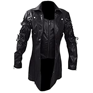 Black Gothic Steampunk Van Helsing Faux Leather Long Coat
