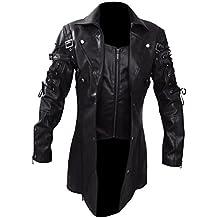 Gothic_Master Men' s Steampunk Gothic Trench PU Leather Coat Jacket