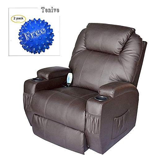 Brown Finish Rocker Recliner -  Tenive Deluxe Pu Leather 360 Degree Swivel Rocker Massage Recliner Sofa Chair Lounge 8 Vibrating Nodes -Executive Heated w/ Control Back- Brown