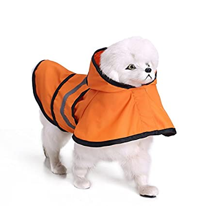 MRXUE Impermeable Mascota Paraguas Impermeable para Perros Pequeños/Medianos/Grandes,Orange,XXL