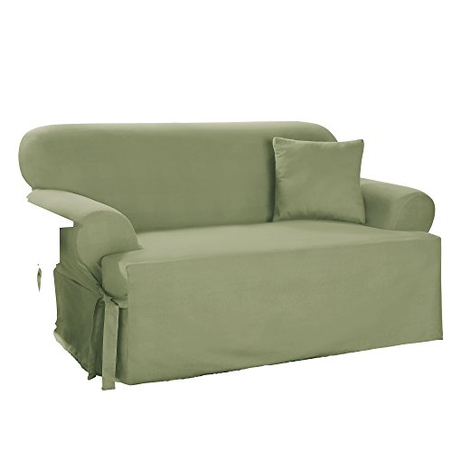 - SureFit Duck Solid T-Cushion - Loveseat Slipcover  - Sage (SF33057)