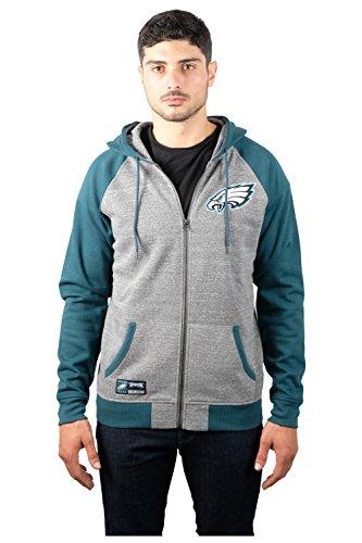 NFL Men's Philadelphia Eagles Full Zip Fleece Hoodie Sweatshirt Jacket Contrast Raglan, Medium, Gray Eagle Zip