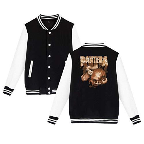 - LixuA Women's Men's Pantera Rattler Skull Baseball Jacket Uniform Hoodie Sweatshirt Sweater Tee Black