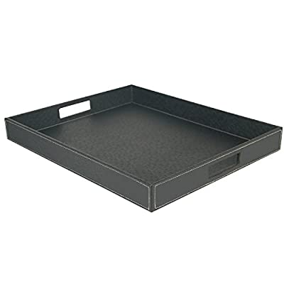 Ranslen Ostrich Faux Leather Rectangular Breakfast Coffee Table Serving Tray with Handles for Breakfast in Bed