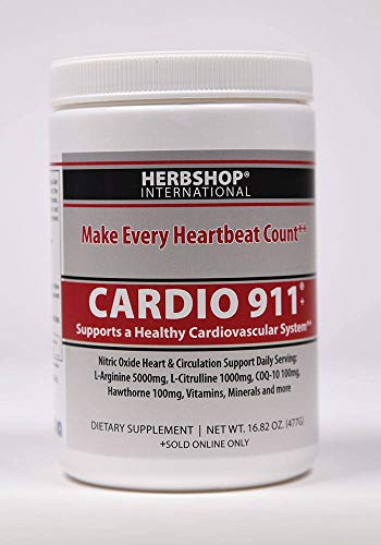 Cardio 911 Heart Health Nitric Oxide 16.82 Ounce Powder with Scoop L-Arginine Supplement 5000mg L-Citrulline 1000mg,16.82 Ounces