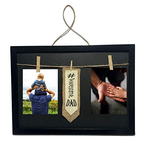 #Awesome Dad Frame with Clothespin Clips for Two 4 x 6 inch Collage Picture