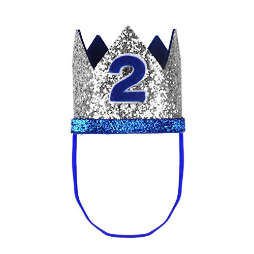 (iiniim Baby Girls Boys First /1st Birthday Party Hat Little Prince Crown Headband Head wear Accessories Silver&Blue Number 2 One)