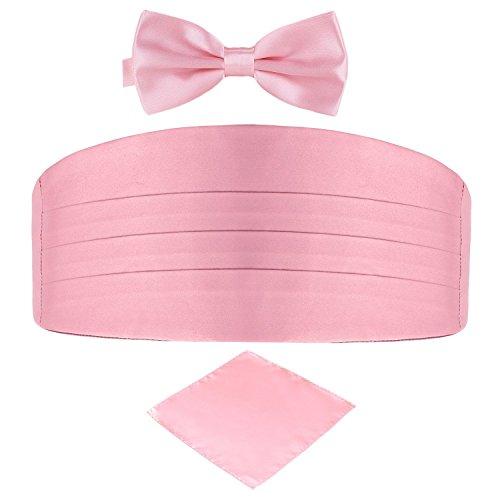 Men's Satin Belt Cummerbund Bow Tie Pocket Square Handkerchief Hanky Set Tuxedo Party (Light Pink)