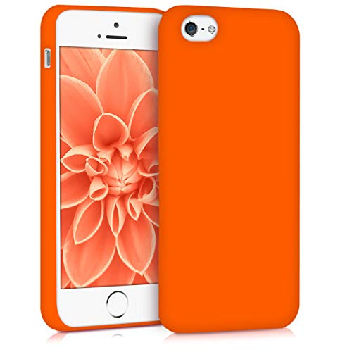 - kwmobile TPU Silicone Case for Apple iPhone SE / 5 / 5S - Soft Flexible Shock Absorbent Protective Phone Cover - Neon Orange