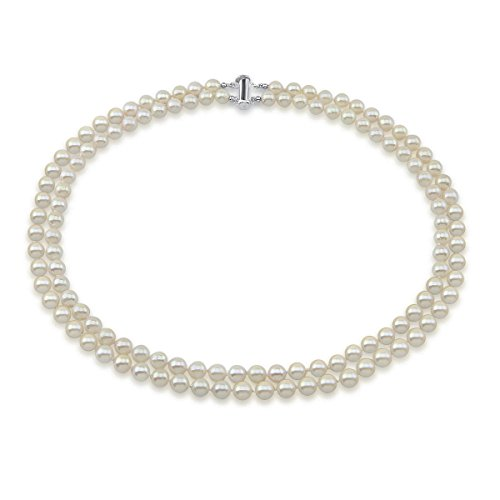 Akwaya Sterling Silver 2 Row 6.0-6.5mm White Round Akoya Cultured Pearl High Luster Necklace 17 -18