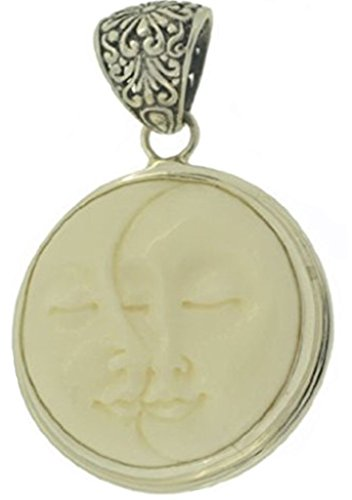 Lovers Pendant Sun Moon Face Bali 925 Sterling Silver Pendant - Unique Handmade Artisan Designer Jewelry with ()