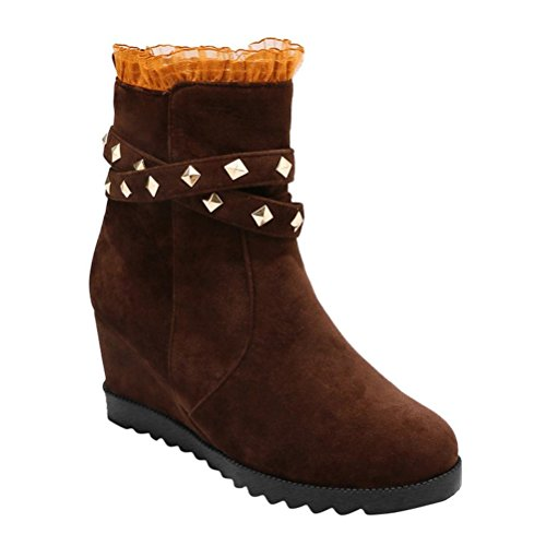 Lace Mid Round Agodor Heels Increased Nubuck High Shoes Ankle Brown Height Womens Boots Toe with Wedges apq0S