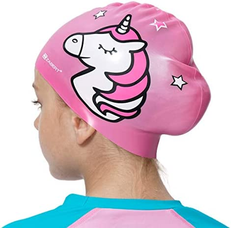 ZABERT C300 Girls Boys Silicone Kids Swim Cap Hat, Soft Waterproof Durable Premium Printed Children Swimcap, for Beach/Pool Swimming/Fun/Lessons/Bathing, Designed through Miami Florida