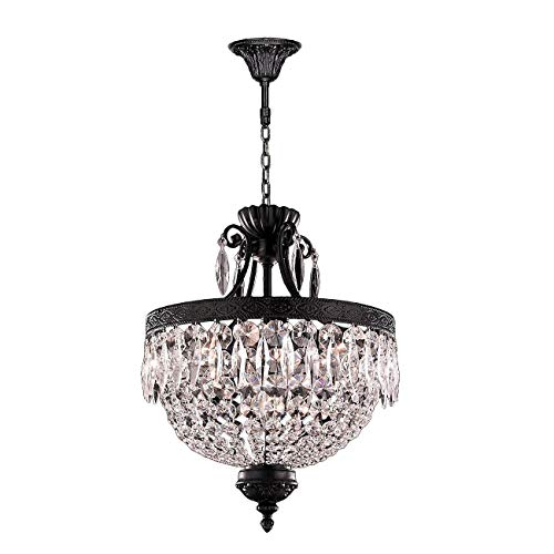 Worldwide Lighting Enfield Collection 6 Light Flemish Brass Finish and Clear Crystal Chandelier 16