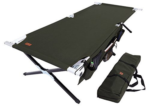 Oversized Aluminum Folding Cot - Tough Outdoors Camp Cot [XL] with Free Organizer & Storage Bag - Military Style Folding Bed for Camping, Traveling, Hunting, and Backpacking - Lightweight, Heavy-Duty & Portable Cots for Adults