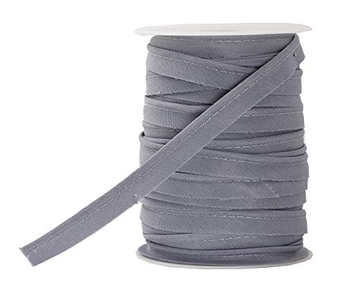 Mandala Crafts Maxi Piping Trim, Double Fold Bias Tape, Welting Cord from Cotton Polyester for Sewing, Trimming, Upholstery (Gray, 2.5mm 0.5 inch 55 Yards)