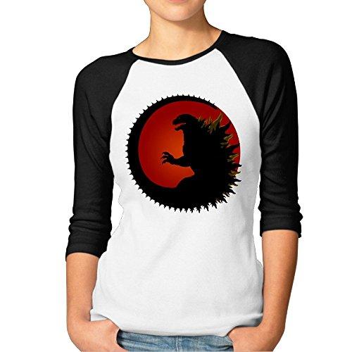 TopSeller Women's Godzilla Logo 3/4 Sleeve Baseball T Shirts/Tee