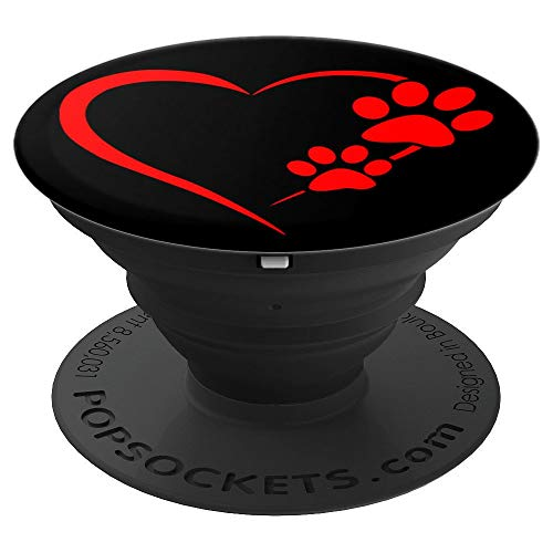 Red Heart Paw Print Dog Paw Cute Dog Love Black Dog - PopSockets Grip and Stand for Phones and Tablets -