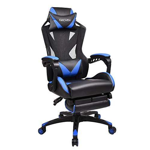 Office Racing Video Gaming Chair Executive Swivel PU Leather Seat High Mesh Back Chair Footrest Lumbar Support Headrest (2# Blue Mesh Back)