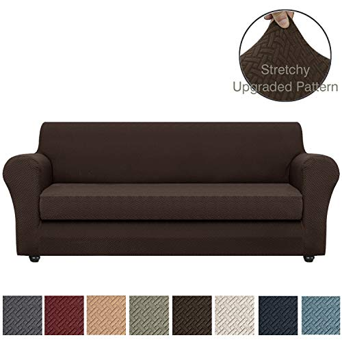Obytex 2-Piece Stretch Sofa Cover Polyester and Spandex Upgrade Pattern Couch Covers Dog Cat Pet Slipcovers Furniture Protectors, Machine Washable (Brown, Sofa - 2 Pieces) (Sofa Slipcover Pattern)