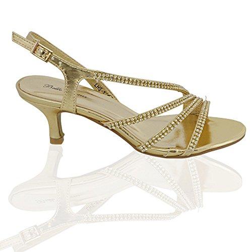Essex Glam Womens Mid Heel Diamante Bridal Synthetic Party Evening Sandals Gold Metallic 4k8x1EsOkp