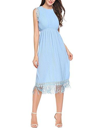 AL'OFA Women Elegant Lace Floral Tassel Hem Sheath Knee Length Evening Dress Light Blue L Knee Length Evening Gown