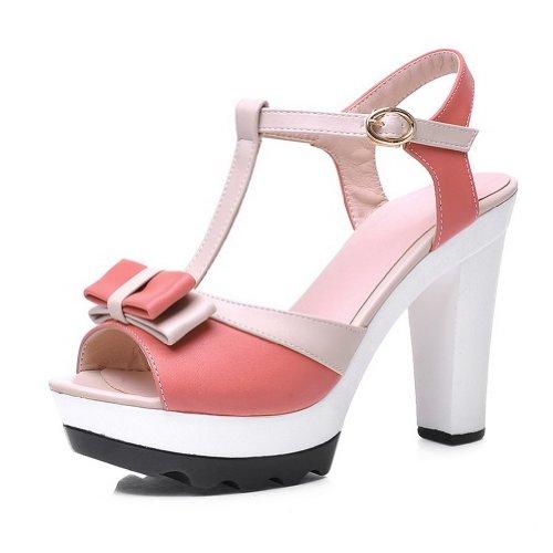Amoonyfashion Dames Open Teen Hoge Hak Pu Zacht Materiaal Degelijke Sandalen Met Strikjes Roze