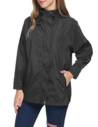 LOMON Raincoat Women Backpacking Full Zip Athletic Basic Bomber Rain Jacket(Black,S) (Full Coat Zip Quilted)