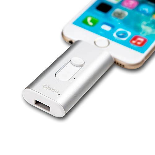 Opro9 32GB USB Flash Drive made for iPhone, iPad, iOS Devices [Apple MFI Certified], Plug and Play, Thumb Drive With Lightning and USB Connector, Built-in Top Hardware AES 256 Encryption – Silver by O'PRO9