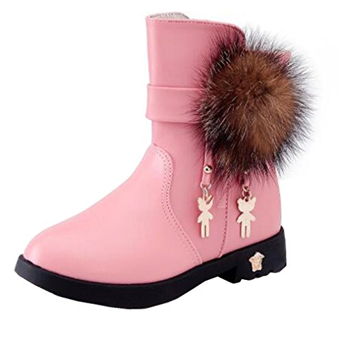 DADAWEN Girls Toddler/Little Kid/Big Kid Waterproof Side Zipper Cute Fur Lined Mid Calf Winter Snow Boots
