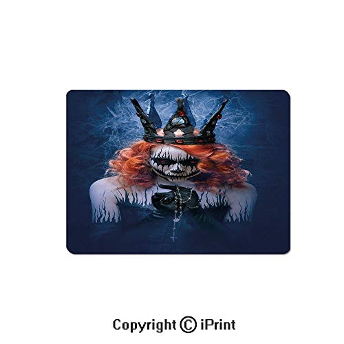 Oversized Mouse Pad,Queen of Death Scary Body Art Halloween Evil Face Bizarre Make Up Zombie Gaming Keyboard Pad,9.8x11.8 inch Non-Slip Office Computer Desk Mat,Navy Blue Orange Black