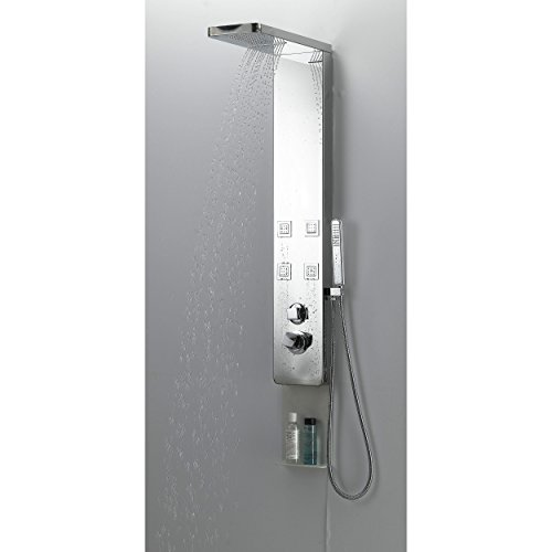 Boann BNSPS301-BN Stainless Steel Rainfall/Waterfall Shower Panel System with 4 Adjustable Jets and Hand Shower, Brushed Finish