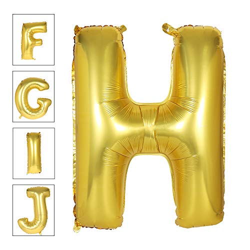 Lovne 40 Inch Jumbo Gold Alphabet H Balloon Giant Prom Balloons Helium Foil Mylar Huge Letter Balloons A to Z for Birthday Party Decorations Wedding Anniversary