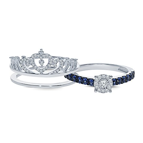 Mother's Day 3/4 cttw Round natural White Diamond Blue Sapphire 925 Sterling Silver Insert Princess Crown Ring. (Natural Round Cut Sapphire)