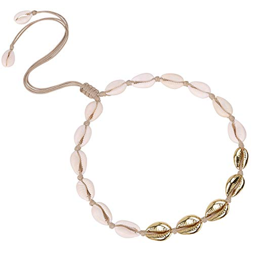 POTESSA 18K Gold Plated Natural Shell Beads Handmade Hawaii Wakiki Beach Choker Adjustable for Girls Ladies