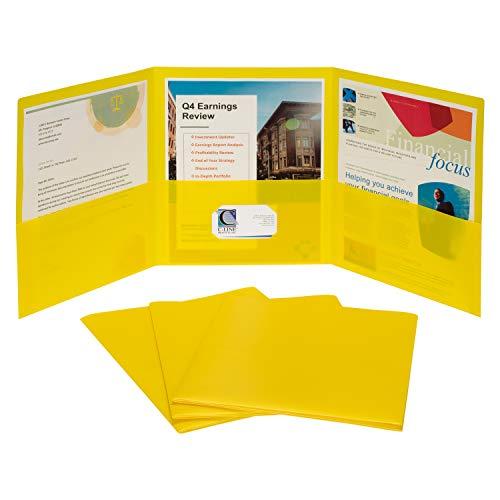 (C-Line 3-Pocket Tri-Fold Heavyweight Poly Portfolios, Yellow, Box of 24 (33946-24))