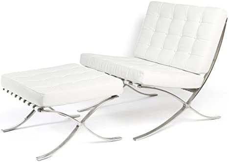 ModStone – Barcelona Pavilion Lounge Reception Love Seat Chair and Ottoman White Top Grain Leather by Mies Ven Der Rohe